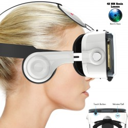 AuraVR Ace VR Headset With Adjustable 42 MM Lenses, 120 FOV, Touch Button & Inbuilt Headphones with Volume Control Key.
