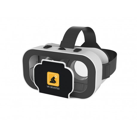 VR DEVOTEE headset with bigger 2 way adjustable 42 MM lenses and inbuilt clicker button
