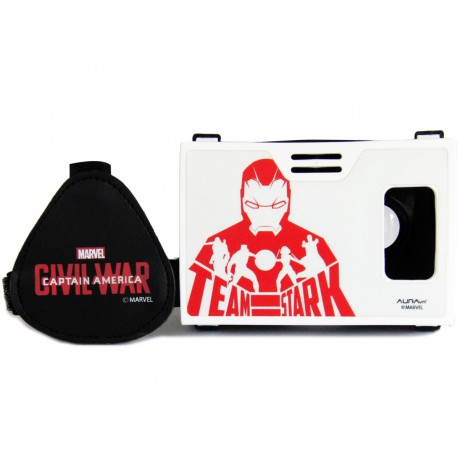 Official Marvel Civil War(Iron Man)Team Stark Plastic Virtual Reality Viewer VR Headset from AuraVR Inspired by Google Cardboard