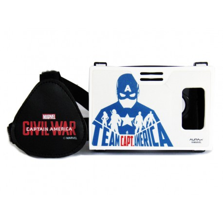 """Official Marvel Civil War Team Captain America Plastic 6"""" Virtual Reality Viewer (VR Headset) Inspired by Google Cardboard"""