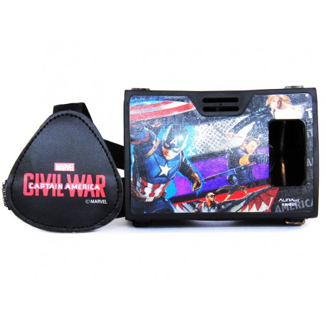 Official Marvel Civil War Team Captain America Plastic Virtual Reality Viewer Headset from AuraVR Inspired by Google Cardboard