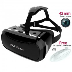 AuraVR Pro VR headset having 42mm lenses & Improved Lens adjustment, 100-110°FOV and Free BT-Remote for android/iOS phones